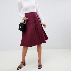 ASOS NWT Box Pleat Midi Skirt